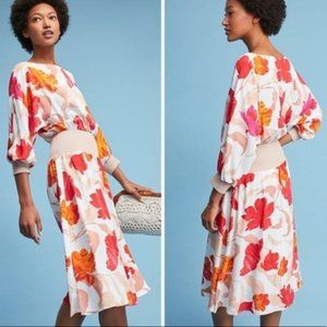 Anthropologie Maeve Gemma floral midi dress